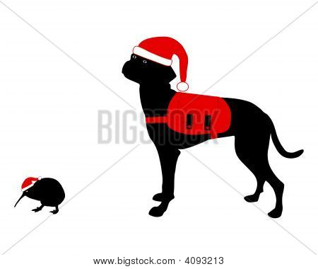 Dog And Kiwi With Rucksack And Christmas Hat