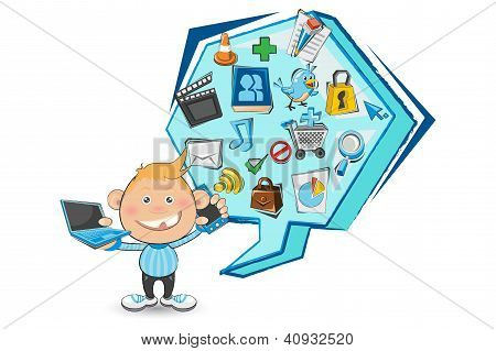 Doodled Social Media Boy