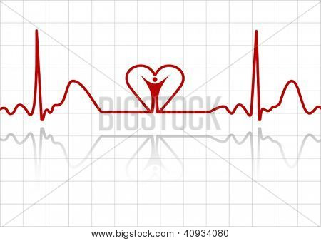 Background with ECG lines, human and heart