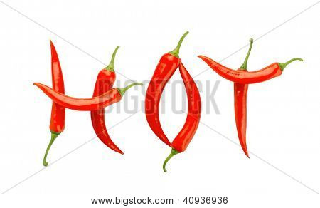 Hot message made of chili peppers. Isolated on white