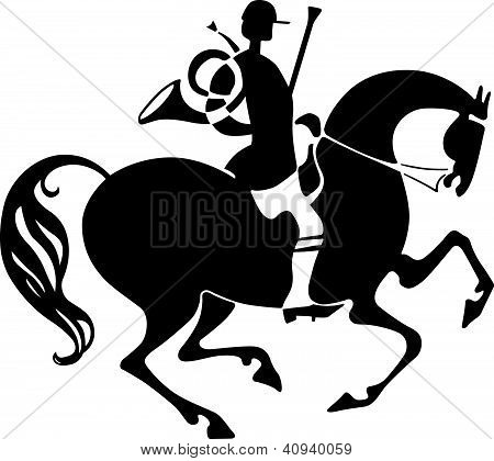 Horseman with hunting horn
