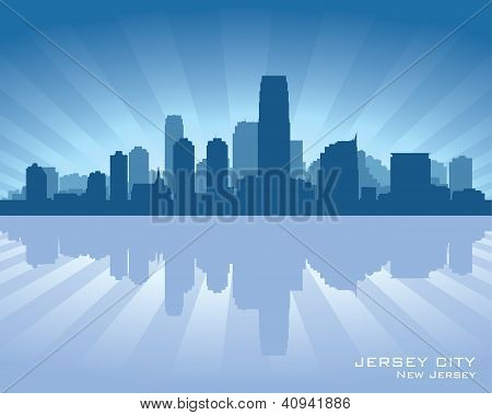 Jersey City, New Jersey Skyline Silhouette