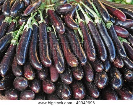 Brinjals, Eggplant, Solanum melongeana L. at marketplace
