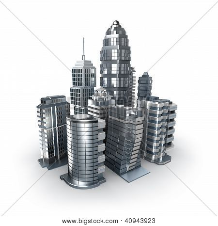 Skyscrapers and magistrals. Chrome city over white