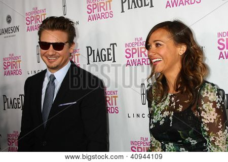 LOS ANGELES - JAN 12:  Jeremy Renner,  Rashida Jones arrives at the 2013 Film Inependent nominees brunch at BOA Steakhouse on January 12, 2013 in West Hollywood, CA