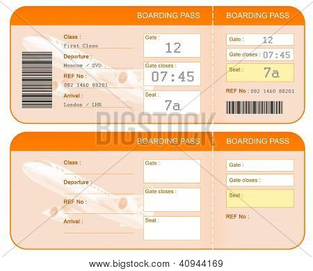 Boarding pass ticket concept. Both sides. Isolated.