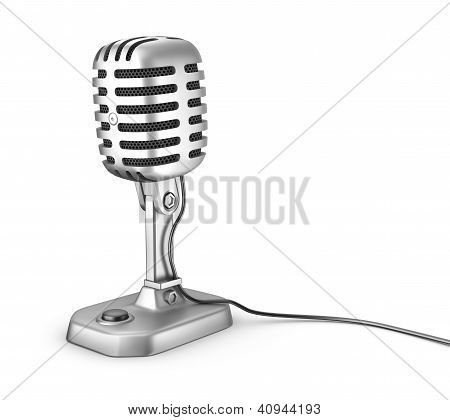 Retro microphone. Isolated on white.