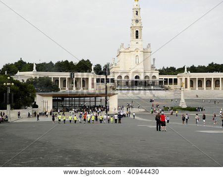 Pilgrims arrive at the shrine in Fatima, Portugal