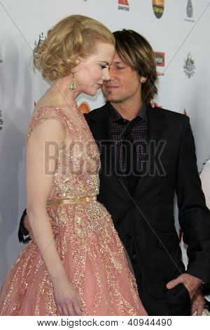 LOS ANGELES - JAN 12:  Nicole Kidman, Keith Urban arrives at the 2013 G'Day USA Los Angeles Black Tie Gala at JW Marriott on January 12, 2013 in Los Angeles, CA..