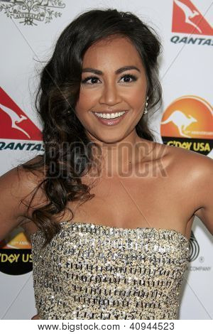 LOS ANGELES - JAN 12:  Jessica Mauboy arrives at the 2013 G'Day USA Los Angeles Black Tie Gala at JW Marriott on January 12, 2013 in Los Angeles, CA..