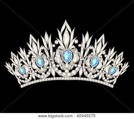 Tiara Crown Women's Wedding With A Light Blue Stones