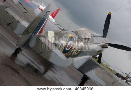 Spitfire in rain