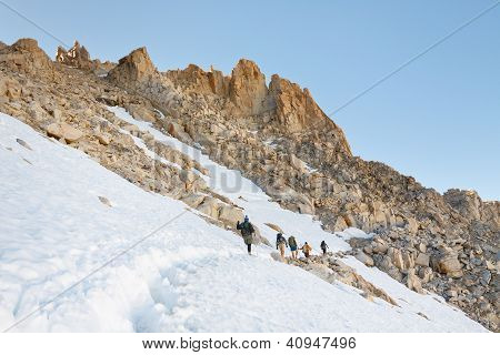 Hikers Climbing Mount Whitney