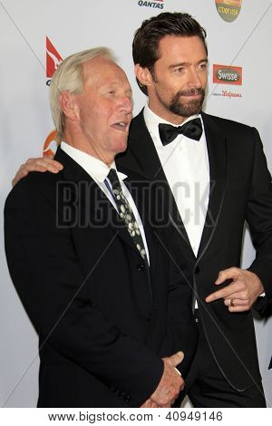 LOS ANGELES - JAN 12:  Paul Hogan, Hugh Jackman arrives at the 2013 G'Day USA Los Angeles Black Tie Gala at JW Marriott on January 12, 2013 in Los Angeles, CA..