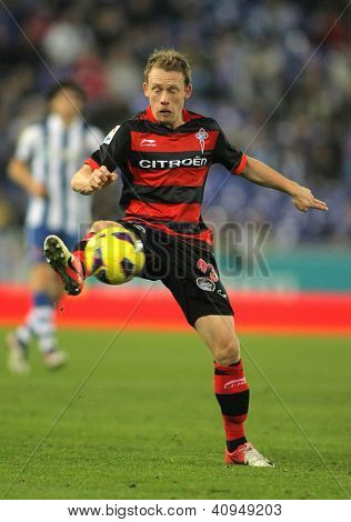 BARCELONA - JAN, 12: Michael Krohn-Dehli of Celta de Vigo during a Spanish League match between Espanyol and Celta at the Estadi Cornella on January 12, 2012 in Barcelona, Spain