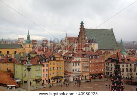 Top view of Old Town Square with New Year tree near Royal Castle. Warsaw, Poland