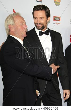 LOS ANGELES - JAN 12: Hulk Hogan, Hugh Jackman at the 2013 G'Day USA Los Angeles Black Tie Gala at JW Marriott on January 12, 2013 in Los Angeles, California