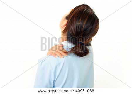 Woman with shoulder neck pain.