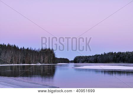 Winter River In Twillight