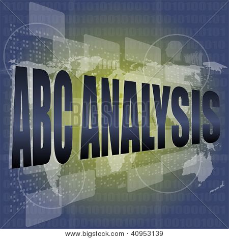 Words Abc Analysis On Digital Screen, Business Concept