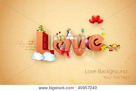 illustration of happy valentine's background with love text