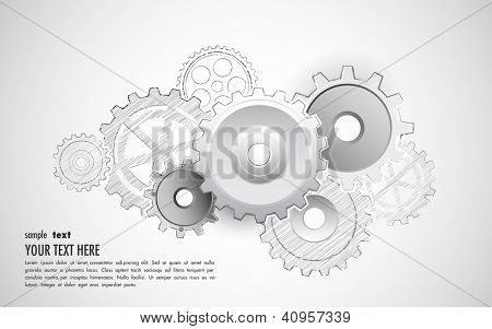 illustration of interlocking cogwheel on sketchy background