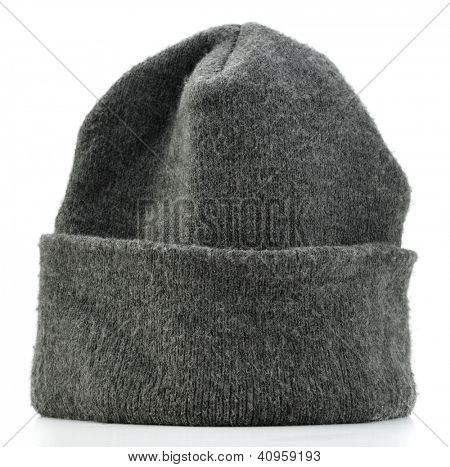 Wool beanie hat isolated on white background