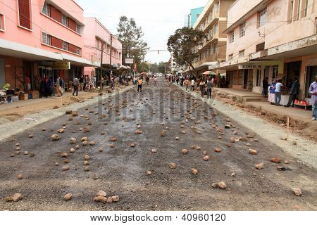 Arusha Street Covered in Rocks