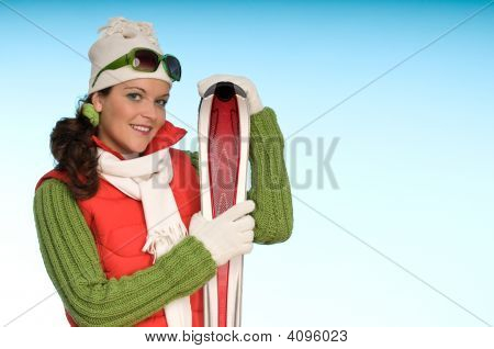 Sportive Fashion Girl Ready For Winter Sport