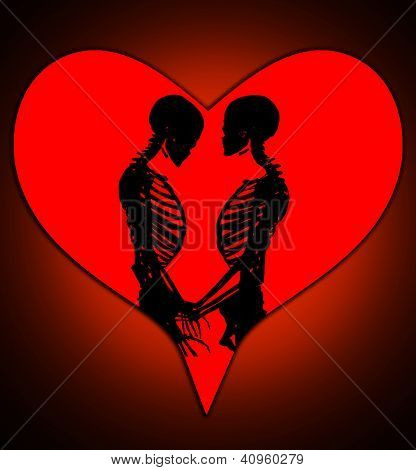 Skeletons With A Love Heart