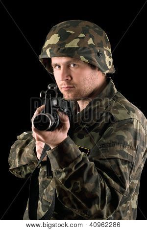Watchful Soldier With M16