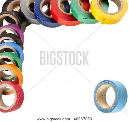 Border of multicolored insulating tapes roll isolated on white background