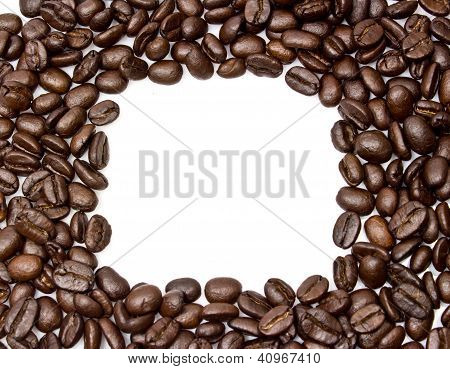 Coffee Beans Stripes Isolated In White Background, With Copyspace.