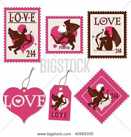 Set Of Valentine's Day Cupid Stamps And Tags