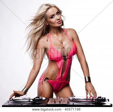 Woman in lingerie with DJ setup
