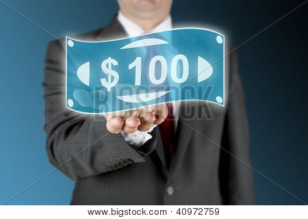 Business Man With 100 Dollar