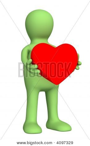 3D Puppet, Holding In Hands Red Heart