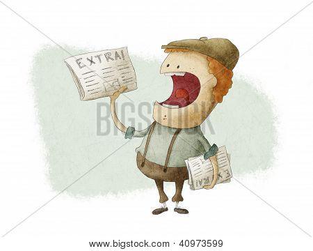 Retro Newsboy Selling Newspapers