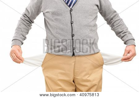 Man showing his empty pockets isolated on white background
