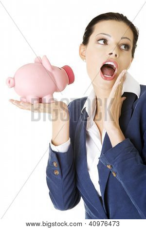 Happy excited success business woman with her savings, isolated