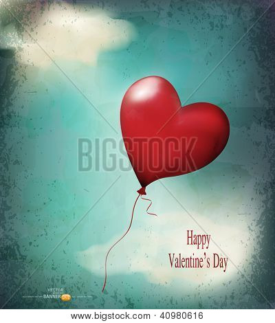 vector retro card( balloon-hearts flying in the sky)
