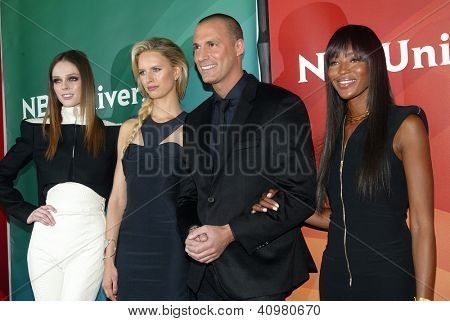 PASADENA, CA - JAN. 7: Coco Rocha, Karolina Kurkova, Nigel Barker and Naomi Campbell arrive at the NBCUniversal 2013 Press Tour at Langham Huntington Hotel on January 7, 2013 in Pasadena, California
