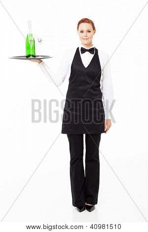 pretty young waitress holding a tray with champagne and glasses