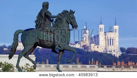 Panoramic View Of Famous Statue And Fourviere Basilic