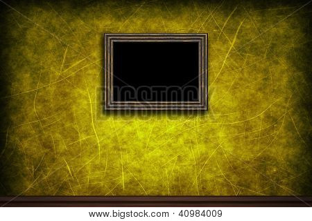 Old Wooden Frame On Yellow Retro Grunge Wall