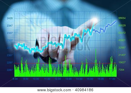 businessman hand touch virtual stock graph, chart, diagram