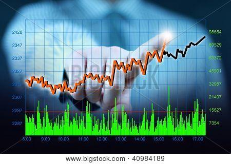 businessman hand touch virtual stock graph, chart, diagram