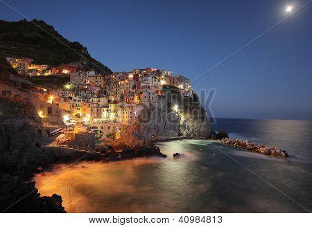 Manarola at Night. Cinque Terre, Italy,