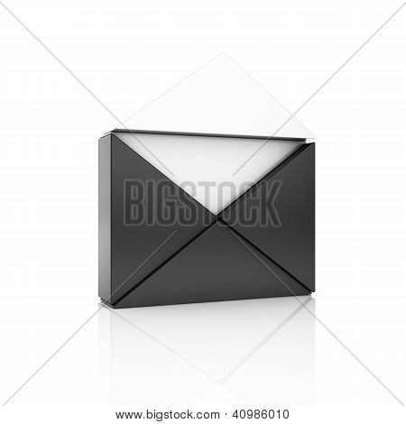 Abstract Black Metallic Symbol With Open Envelope From Triangles.