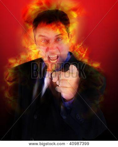Boss disparou irritado, apontando com chamas